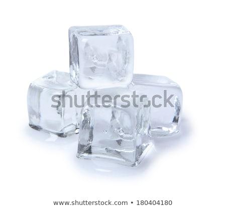 Vier Eiswürfel Glas Wasser Essen Licht Stock foto © alex_l