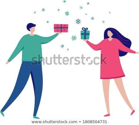 lila · karácsony · piros · szalagok · fehér · eps - stock fotó © beholdereye