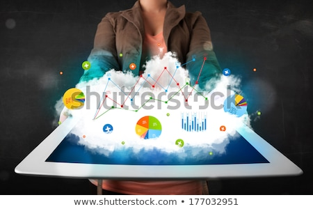 persoon · touchpad · wolk · technologie · charts - stockfoto © ra2studio
