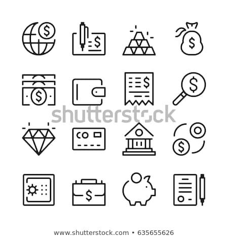 house with dollar symbol line icon stock photo © rastudio