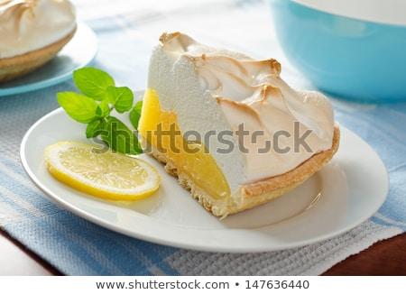 Limon turta iki kireç gıda plaka Stok fotoğraf © Klinker