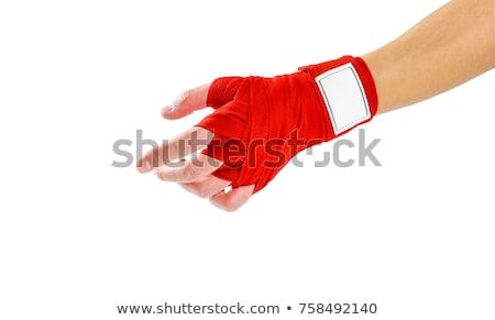 Foto stock: Mulher · da · aptidão · vermelho · boxe · fitness · bela · mulher · menina