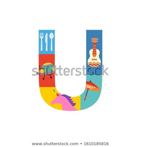 Flashcard letter U is for ukulele Stock photo © bluering