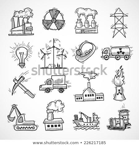 nukleáris · erőmű · kézzel · rajzolt · rajz · ikon · füst - stock fotó © rastudio