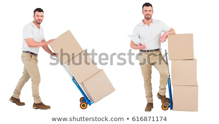 Composite image of happy delivery man with package and clipboard Stock photo © wavebreak_media