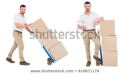 Imagen feliz mensajero paquete portapapeles Foto stock © wavebreak_media