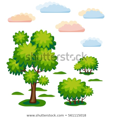Sticker set of nature with tree and bush Stock photo © bluering