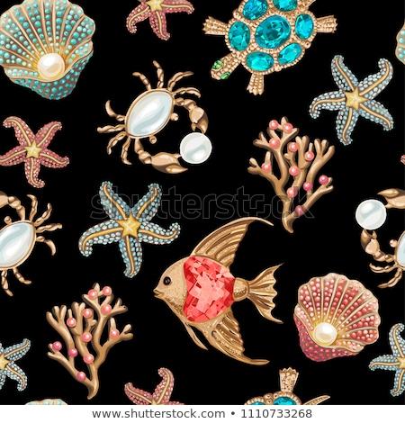 blue seamless of gold seashells stock photo © blackmoon979