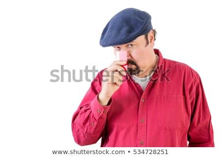 gyanús · arc · portré · jóképű · fiatalember · szürke - stock fotó © ozgur