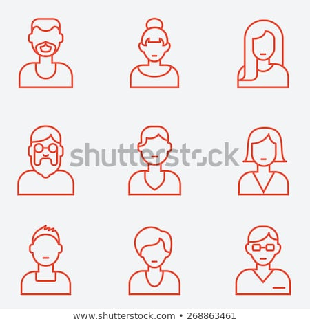 People faces avatars flat thin line vector icons Stock photo © vectorikart