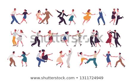 иллюстрация пару танцы музыку сведению изолированный Сток-фото © m_pavlov
