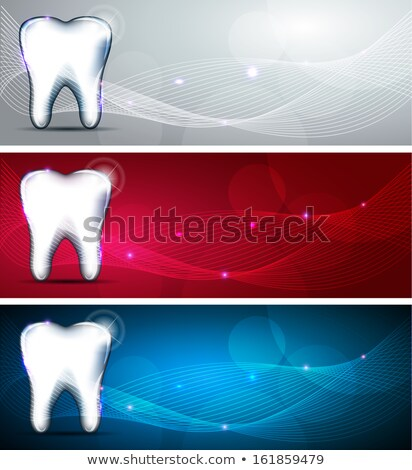 Tooth icons, caries and treatment symbols. Beautiful light blue  Stock photo © Tefi