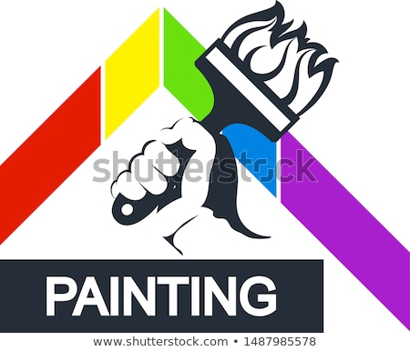 hand with painting roller stock photo © kurhan