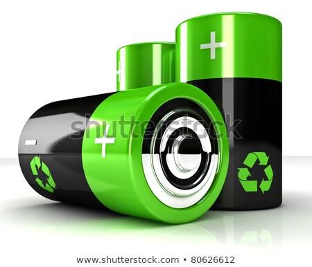Baterii recyklingu symbol energii ze źródeł odnawialnych 3d ilustracji zielone Zdjęcia stock © tussik