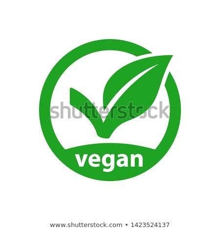 vegetarisch · logo · icon · symbool · veganistisch · voedsel - stockfoto © zsooofija