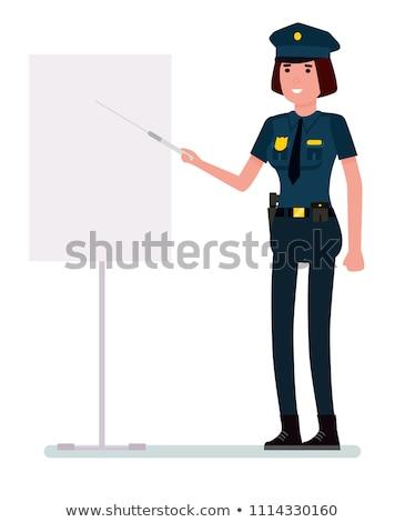 Caucasian police woman holding pointer stick. Stock photo © RAStudio