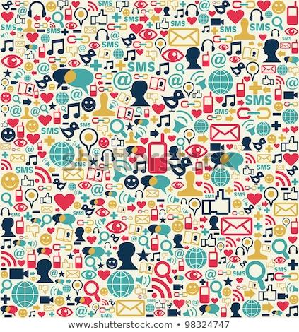 Zdjęcia stock: Social · media · niebieski · liniowy · społecznej · sieci