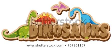 Aufkleber · Vorlage · Wort · Dinosaurier · Illustration ...