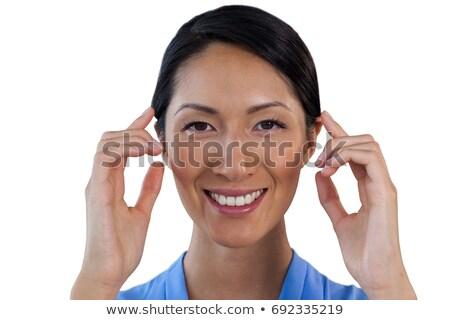 портрет деловая женщина невидимый очки белый синий Сток-фото © wavebreak_media