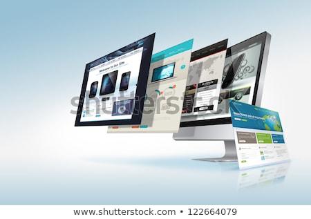 Weboldal hosting laptop képernyő közelkép leszállás Stock fotó © tashatuvango