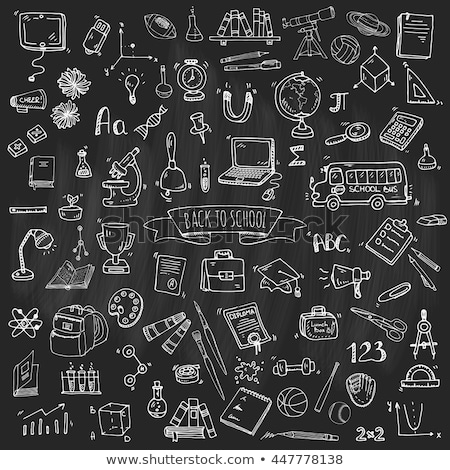 Foto d'archivio: Learn Physics Concept Doodle Icons On Chalkboard