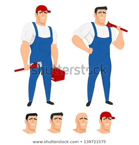 Stockfoto: Male Superhero Plumber With A Wrench