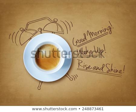 Zwart wit goedemorgen icon vorm microfoon radio Stockfoto © Olena