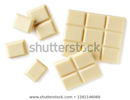 Felső kilátás fehér csokoládé szelet fából készült felület Stock fotó © deandrobot