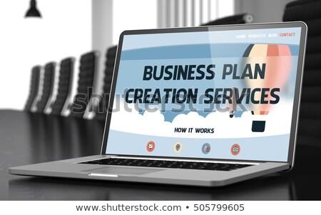 Business Plan Creation on Laptop in Conference Room. 3D. Stock photo © tashatuvango