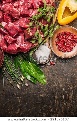 piece of raw beef on wooden spoon Stock photo © Digifoodstock