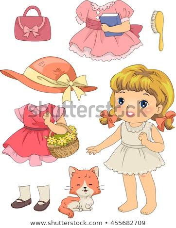 Kid Mädchen Retro Puppe Katze Illustration Stock foto © lenm