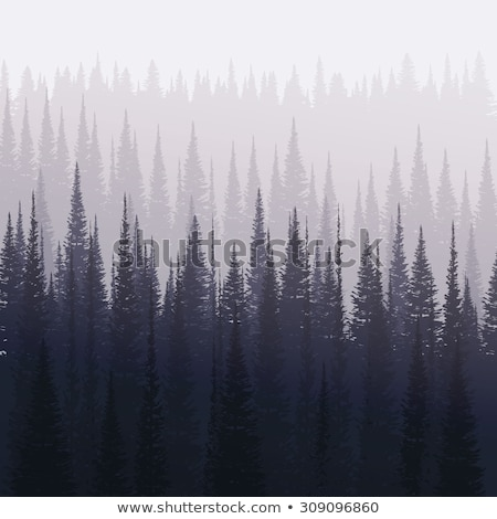 nature landscape background with silhouettes of mountains and trees winter forest vector illustrat stock photo © leo_edition