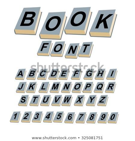 Doopvont boek alfabet boeken vintage hardcover Stockfoto © popaukropa