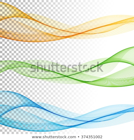 set of abstract blue and orange wavy backgrounds stock photo © saicle