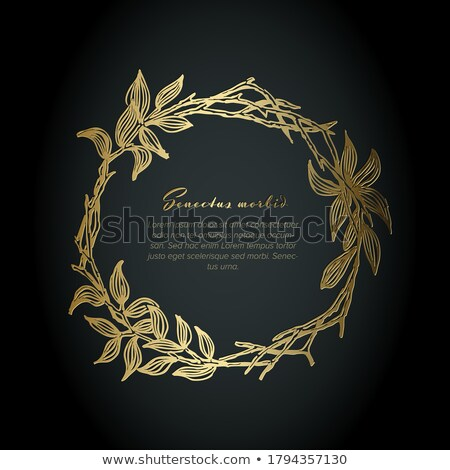Stock photo: Golden flower frame illustration template made from leafs - funeral card template