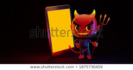 Stock photo: Satan Standing and Holding a Pitchfork