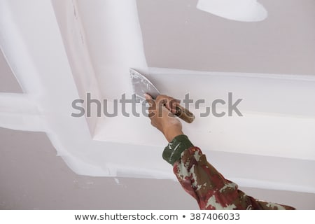 worker plastering ceiling stock photo © vilevi