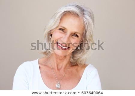 Stockfoto: Portret · glimlachend · senior · vrouw · vrouwen