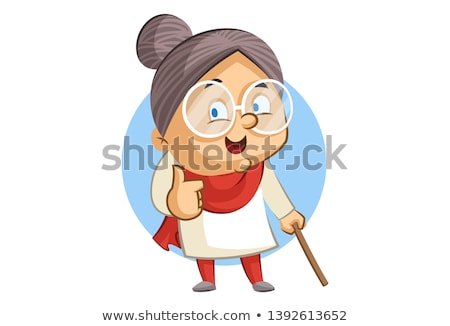 grandmother with stick isolated grandma vector illustration stock photo © maryvalery