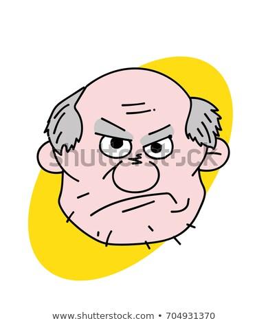 Boos grootvader kwaad knorrig oude man cartoon Stockfoto © popaukropa