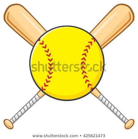 yellow softball over crossed bats logo design stock photo © hittoon
