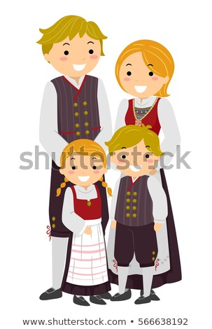 Stickman Family Traditional Norwegian Clothes Stock photo © lenm