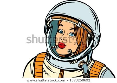 серьезный женщину астронавт белый Поп-арт Сток-фото © studiostoks