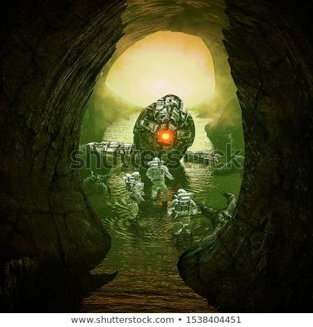 Földalatti sötét barlang illusztráció természet háttér Stock fotó © bluering