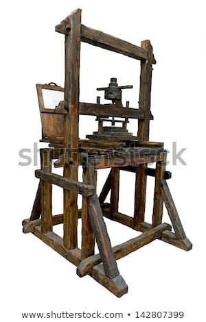Alten Holz Druckerpresse erste Buch Holz Stock foto © grafvision