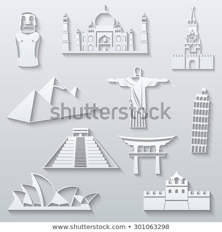 Torii Gate and Taj Mahal Set Vector Illustration Stock photo © robuart