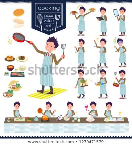 school boy Brown Blazer cooking Stock photo © toyotoyo
