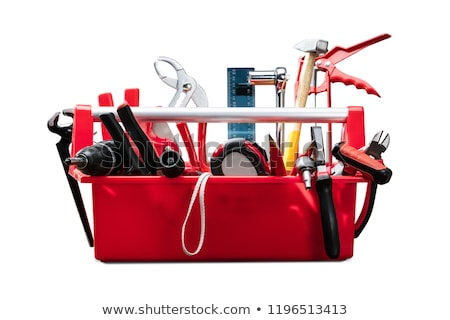 Different Worktools In Red Toolbox Stock photo © AndreyPopov