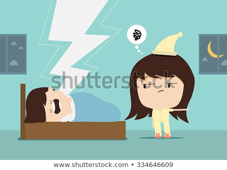 Cartoon Angry Woman In Pajamas Stock photo © cthoman