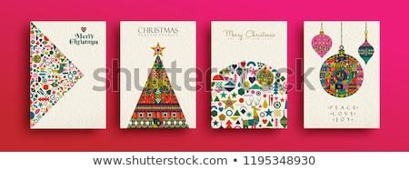 Merry Christmas festive folk decoration card Stock photo © cienpies